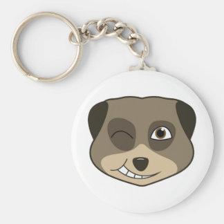 Winking meerkat design basic round button key ring