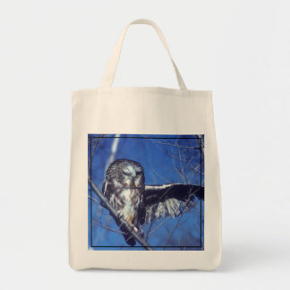 Winking owl grocery tote bag