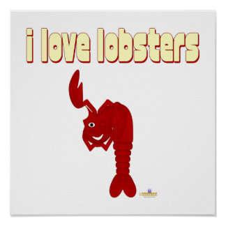 Winking Red Lobster I Love Lobsters Posters