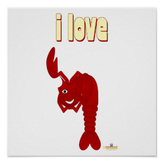 Winking Red Lobster I Love Posters