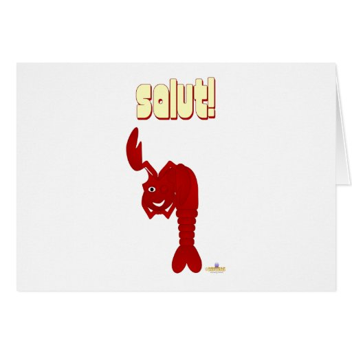 Winking Red Lobster Salut Greeting Card