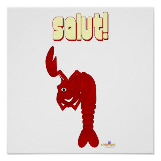 Winking Red Lobster Salut Print