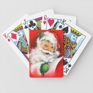 Winking Santa Christmas List Bicycle Playing Cards