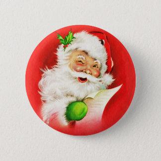 Winking Santa Claus 6 Cm Round Badge