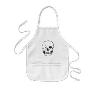 winking skull kids apron
