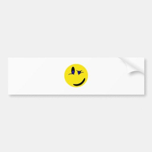 Winking Smiley Face Bumper Sticker