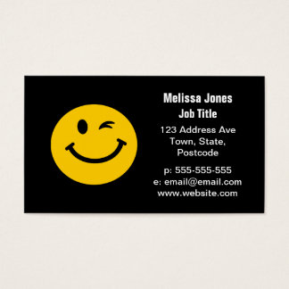 Winking smiley face business card