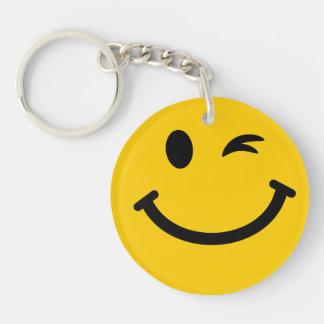 Winking smiley face Double-Sided round acrylic key ring