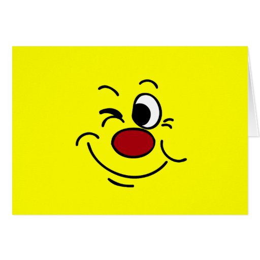 Winking Smiley Face Grumpey Greeting Cards