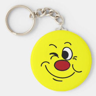 Winking Smiley Face Grumpey Basic Round Button Key Ring