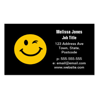 Winking smiley face pack of standard business cards