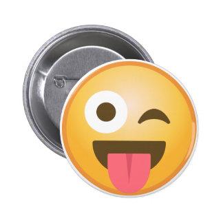 Winking Tongue Emoji 6 Cm Round Badge