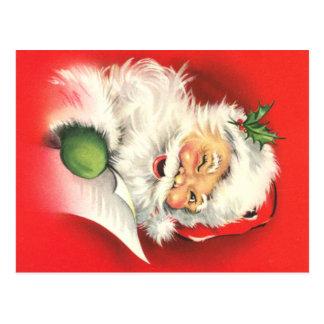 Winking Vintage Santa Christmas Postcard