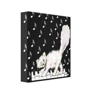 Winking White Cat on Piano Keys Musical Notes Gallery Wrap Canvas