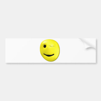Winking yellow smiley bumper sticker