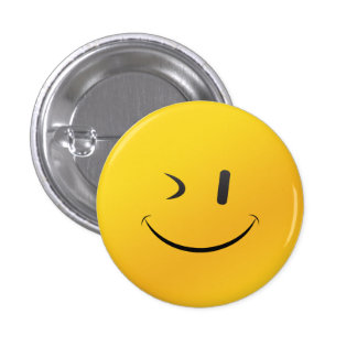 Winky face pin 1 inch round button
