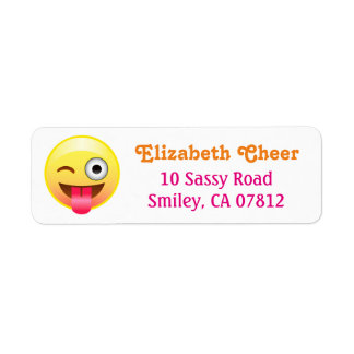 Winky Tongue Out Smiley Emoji Return Address Label