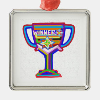 Winner Heart : Vintage Trophy 3 Silver-Colored Square Decoration