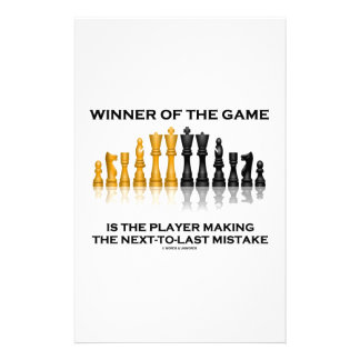 Winner Of Game Player Making Next-To-Last Mistake Stationery Design