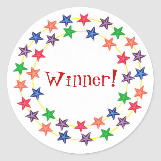 Winner!, stickers, with colorful stars classic round sticker