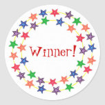 Winner!, stickers, with colourful stars round sticker
