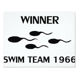 winner swim team 1966 icon 11 cm x 14 cm invitation card