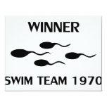 winner swim team 1970 icon 11 cm x 14 cm invitation card