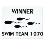 winner swim team 1970 icon personalized invite