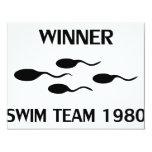 winner swim team 1980 icon 11 cm x 14 cm invitation card