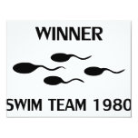 winner swim team 1980 icon 4.25x5.5 paper invitation card