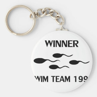 winner swim team 1992 icon basic round button key ring
