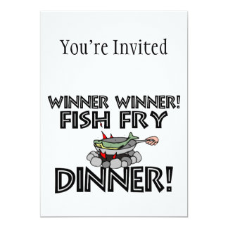 Winner Winner Fish Fry Dinner 13 Cm X 18 Cm Invitation Card