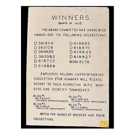 Winners, Month Of July, Watch For Names Of Winners Postcard