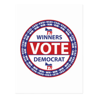 Winners Vote Democrat Postcard
