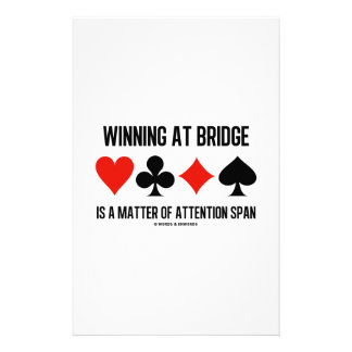 Winning At Bridge Is A Matter Of Attention Span Personalized Stationery