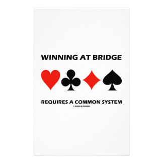 Winning At Bridge Requires A Common System Customized Stationery