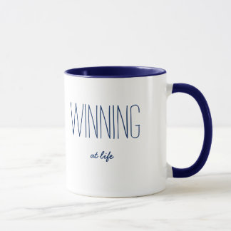 Winning at Life Funny Quote Blue/White Mug