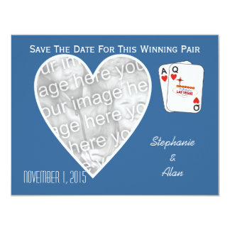 Winning Pair Blue Save The Date Card 11 Cm X 14 Cm Invitation Card