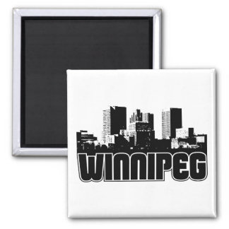 Winnipeg Skyline Square Magnet