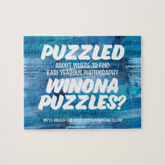 Winona Minnesota Puzzle White on Frosty Background