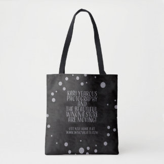 Winona Minnesota Tote Bag Silver on Black