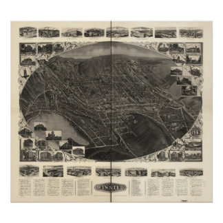 Winsted Connecticut 1908 Antique Panoramic Map Posters