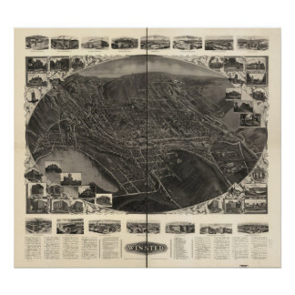 Winsted Connecticut 1908 Antique Panoramic Map Poster