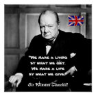 Winston Churchill - A Living vs A Life Poster