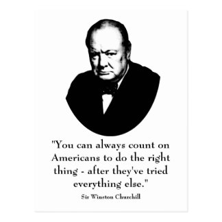 Winston Churchill and Funny Quote Postcard