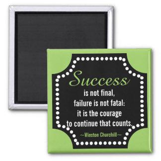 Winston Churchill Positive Attitude Quote Square Magnet