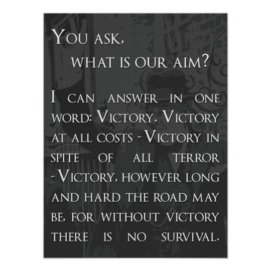 Winston Churchill Quote - Victory Poster