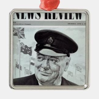 Winston Churchill Silver-Colored Square Decoration