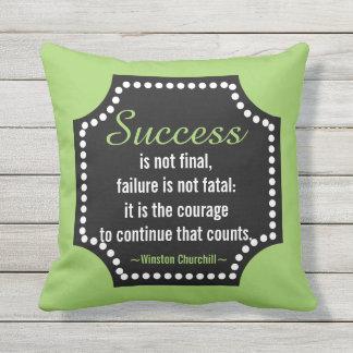 Winston Churchill Success Motivational Quote Outdoor Cushion