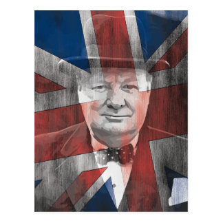 Winston Churchill Union Jack Postcard